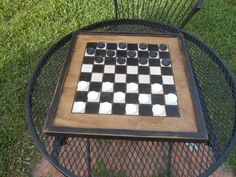 Handmade Wooden Checkerboard-Black and White Wood by AtticJoys1