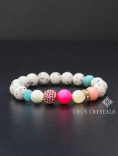 Bianca Beaded Bracelet White Dalmatian Jasper by CruxCrystals