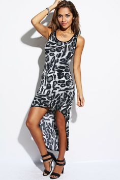 #1015store.com #fashion #style gray leopard animal print high low tank dress-$15.00