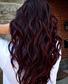 """""""Wine Hair"""" Is the Best Way for Brunettes to Rock Deep Purple This Fall - Hair - Hair color Hair Color Purple, Cool Hair Color, Color Red, Purple Ombre, Wine Red Hair Color, Red Ombre Hair, Ombre Brown, Curly Hair Colours, Dark Hair Colours"""