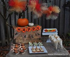 Fall Leaf Raking Party -a fun family fall leaf raking party, filled with leaf themed treats, like leaf jello, rake cookies, and fall themed decor.
