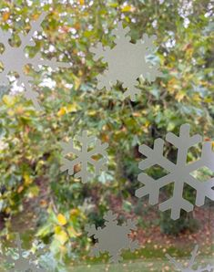 Snowflake Window Stickers  Etched Snowflake Decals image 1 Window Stickers Privacy, Window Decals, Net Curtains, Curtains With Blinds, Privacy Glass, Natural Light, Snowflakes, Windows, Film