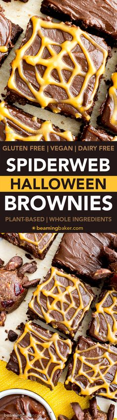 Chocolate Peanut Butter Spiderweb Brownies (V, GF, DF): a spooky Halloween recipe for decadently rich brownies covered in peanut butter spiderwebs!
