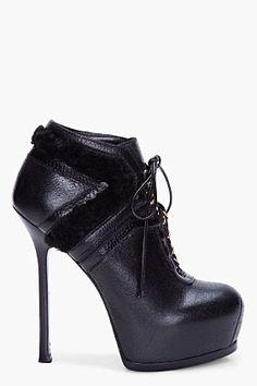 'tribtoo' shearling boots yves saint laurent f.w2012 ssense