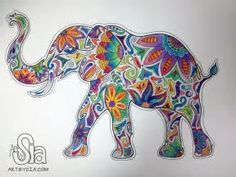 Elephant ~ Art By Sia, watercolor Watercolor And Sharpie, Elephant Watercolor, Watercolor Painting, Arte Sharpie, Sharpie Doodles, Zentangle Elephant, Zentangle Animal, Elefante Hindu, Elephant Love