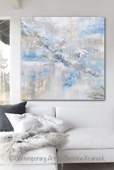 "ORIGINAL Large Art Abstract Painting Blue White Grey Oil Painting Home Decor Wall Art Coastal Decor Beach Textured 36x36- Artist Christine Krainock.""Tranquility"" Original Art Abstract Painting 36x36"" Modern, Large Art, Wall Art, Coastal, Home Decor. Textured, palette knife, abstract fine art painting w/ neutral, muted shades of light teal blue, blue, aqua, pale sea foam green, grey, taupe, beige, & white"