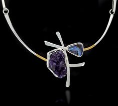Amethyst crystal cluster, Australian boulder opal. 22k gold and sterling silver Cynthia Downs