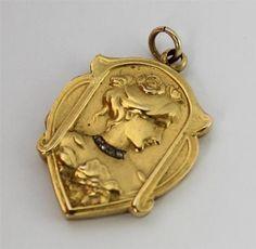 Art Nouveau 15ct Gold Diamond Ladies Pendant Locket | eBay