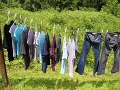 Tips for hang drying clothes, and making the most of even a small clothesline.