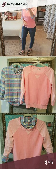 Madwell Sweater and Button Down Shirt I am selling 2 tops by Madewell, perfectly suited for one another, excellent layered or worn independently.  The plaid button down top is a size XS while the sweater is a small, (I like having the bottom layer be a touch smaller than top.)  Both in excellent condition.  I bought specifically to be worn together and would like to keep them as a complimentary set. Madewell Tops Button Down Shirts