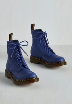 March Through Manhattan Boot in Cobalt by Dr. Martens - Blue, Solid, Statement, Best, Lace Up, Ankle, Low, Leather, Variation