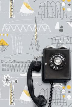 Minimoderns new Festival of Britain wallpaper - once again proving the perfection that is combining grey and yellow