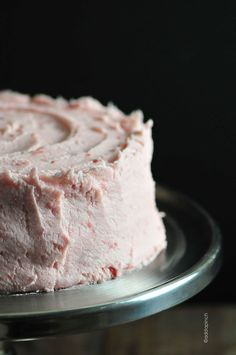 Strawberry Cake Recipe from addapinch.com. Ingredients: flour, baking powder, salt, butter, sugar, egg whites, strawberry syrup (strawberries, sugar), vanilla, buttermilk. Strawberry Buttercream:  butter, confectioner's sugar, strawberries, sugar, half-and-half (or heavy cream or whole milk), salt