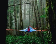 The Flite is our most lightweight tree tent. This two-person tree tent is the perfect size for hiking and adventuring deep into the wilderness.  The Flite comes with only one ratchet to save on weight, and because of its handy size can be set up between most tree configurations - even in dense forest. We have worked hard to make the Flite the lightest two-person suspended camping solution you will find on the market. Go forth and experience a whole new level of freedom for your next camping…