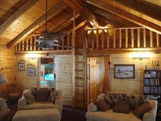 La Pine cabin rental - Living Room, Loft, 2 bedrooms below Cool Loft Beds, Cottage Garden Sheds, Little Cabin, Cabin Rentals, Farm Life, Game Room, Bunkhouse, Vacation, Cabin Ideas