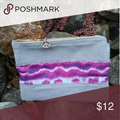 "American Hippie Handmade Boho Zippered Wallet Welcome to American Hippie! I am so glad you found me. All of my designs are unique, one-of-a-kind creations that bring back the comfort of being you.  ~~  This wallet is gray denim and purple tie dye.  Measures 4 1/2"" x 6"". Bags Wallets"