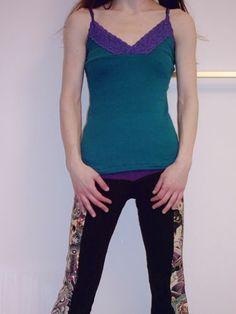 Organic Teal Purple Lace Tank TOP DIY Shirt Pixie Goth Metal Punk | eBay