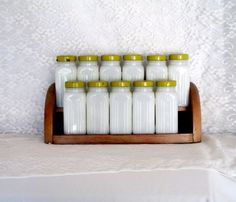 1950's Milk Glass Spice Jars With Wood Rack 11 Jars Yellow Lids Vintage Collectible Gift Item 2213