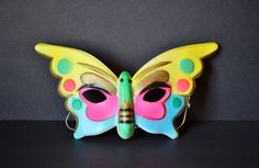 Vintage Halloween Butterfly Mask Masquerade Molded Plastic Yellow Pink Blue Child's Costume 1970's by RelicsAndRhinestones on Etsy
