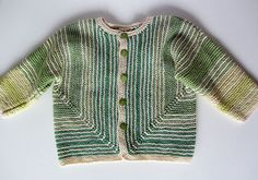 Ulina - Baby cardigan knitted in two pieces from the front and lower edges to the sleeves. Can be worked in almost any sock-yarn equivalent - one size only - pattern in english and german by Kerstin Michler Baby Cardigan Knitting Pattern Free, Knitted Baby Cardigan, Baby Pullover, Knitted Baby Clothes, Knitting Patterns Free, Sweater Patterns, Knitting For Kids, Crochet For Kids, Baby Knitting