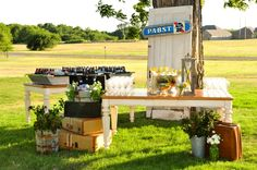 vintage backyard wedding reception, Rekindled Vintage Rentals, Holli B Photography, Gibson Events, Poppy Lane Design