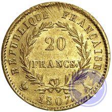 FRANCE  20 FRANCS 1807A conservation: TTB-SUP