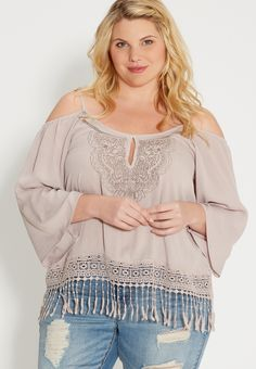 f0a16f29f57 Plus Size Fashion- Cold Shoulder Top With Crochet And Fringe (plus size)