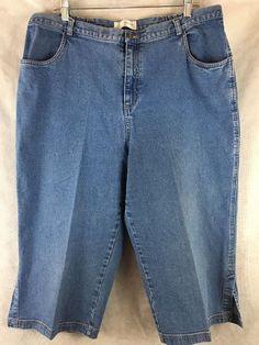CJ Banks Size 20W Stretch Blue Denim Capri Crop Elastic on Waist for Comfort #CJBanks #CaprisCropped