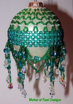 Emerald AB Ornament Cover - ire polished crystals in Emerald AB, Emerald seed beads and Clear AB fire polished drops