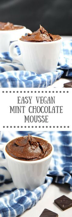 Easy Vegan Mint Chocolate Mousse | A dairy-free, gluten-free avocado mousse that whips up in only a few minutes!