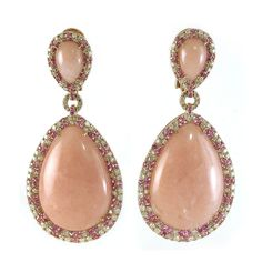 PINK OPAL EARRINGS WITH PINK SAPPHIRES AND DIAMOND EARRING IN ROSE GOLD