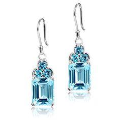 Women's Sterling Silver 4 carats Natural blue topaz drop earrings by DormithΒ®…