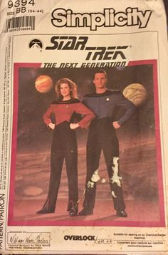 Simplicity 9394 Star Trek Next Generation Jumpsuit.  Sized for stretch knits only.  Fitted jumpsuit with front zipper and asymmetrical front details h