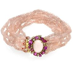 Rose Quartz Bead String Bracelet (14.860 BRL) ❤ liked on Polyvore featuring jewelry, bracelets, beaded bangles, 18 karat gold jewelry, rose quartz jewellery, 18k bangle and beading jewelry