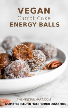 These Vegan Carrot Cake Energy Bites are the perfect healthy snack this Spring. Gluten free, refined sugar-free, and grain free, these bites use less than 10 ingredients and take less than 15 minutes to whip up in your food processor! Easter Recipes, Snack Recipes, Dessert Recipes, Vegan Recipes, Cake Recipes, Breakfast Recipes, Sugar Free Desserts, Sugar Free Recipes, Vegan Snacks