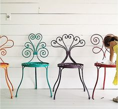 Grab some spray paint and make rainbow patio chairs! Todays project, hubby bought me the best vintage set for my birthday! Yay think i'm going neon tho. Decoration Inspiration, Interior Inspiration, Design Inspiration, Colorful Chairs, Cool Chairs, Eclectic Chairs, Awesome Chairs, Iron Furniture, Painted Furniture