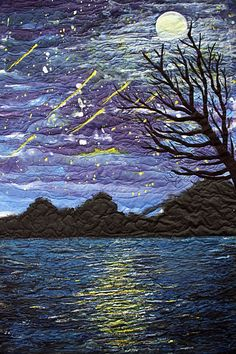 "STARRY NIGHT - Hand painted silk art quilt, with applique - by Barbara Harms (Fine Art Quilts and Silk Paintings) -- ""If you purchase original art that you love, it will bring you pleasure for years. Landscape Art Quilts, Quilt Art, Art Quilting, Fiber Art Quilts, Machine Quilting, Machine Embroidery, Art Textile, Nocturne, Silk Painting"