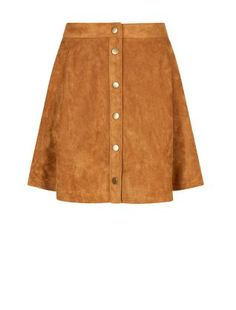 Petite Tan Suedette Button Front Skater Skirt | New Look