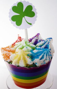 Shamrock Cupcake Toppers with Rainbow Wrappers {Free Printable}