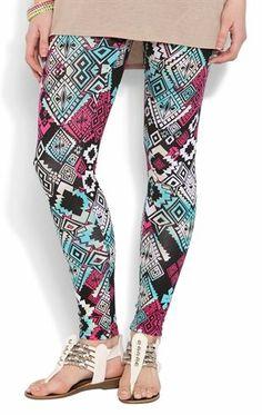Deb Shops jade and magenta tribal print #legging $16.00