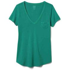 Gap Women Vintage Wash V Neck Tee (55 RON) ❤ liked on Polyvore featuring tops, t-shirts, palisade green, regular, blue tee, blue v neck t shirt, green t shirt, green top and curved hem tee