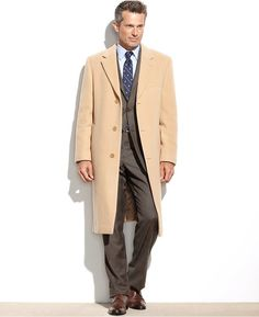 $259, Beige Overcoat: Lauren Ralph Lauren Columbia Cashmere Blend Overcoat. Sold by Macy's. Click for more info: https://lookastic.com/men/shop_items/144657/redirect