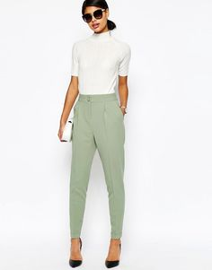 Image 1 of ASOS Tailored High Waisted Trousers with Turn Up Detail