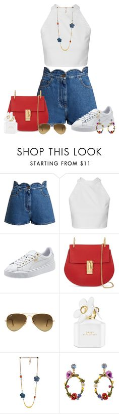 """""""Untitled #1932"""" by ebramos ❤ liked on Polyvore featuring Valentino, Chloé, Ray-Ban, Marc Jacobs and Les Néréides"""