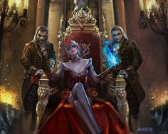 fantasy art queen on throne with two males | The Queen wallpaper, the two men, the throne, the red dress, jewelry ...