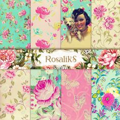 Floral Shabby Chic 85x11 Digital Scrapbook Paper Pack  by rosaliks