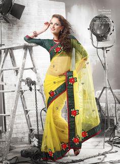 Khazanakart Heavy Worked Saree Velvet, Net and Satin Saree in Yellow Color