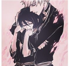 Bleach : Ichigo & Rukia - the way she is clinging to him in this photo breaks my heart a little :(