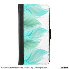 Modern Girly Watercolor Feathers iPhone 6/6s Wallet Case - This light and airy feminine design features watercolor feathers in cool shades of blue, aqua and green. Sold at DancingPelican on Zazzle.