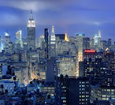 Midtown Manhattan and NoHo at Twilight, New York City by andrew c mace, via Flickr
